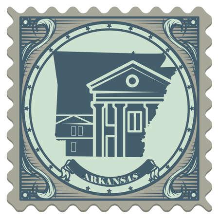 postage: Arkansas state postage stamp