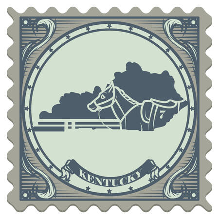 postage: Kentucky state postage stamp Illustration