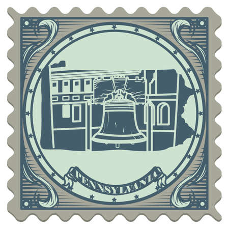 pennsylvania: Pennsylvania state postage stamp Illustration
