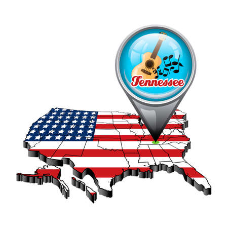 us map: US map with pin showing tennessee state Illustration
