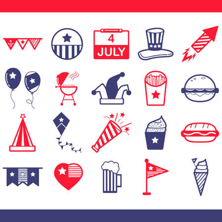 fire crackers: Collection of USA independence day icons