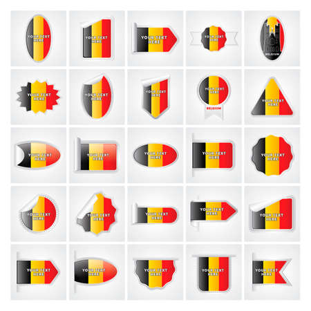 Collection of belgium stickers Illustration