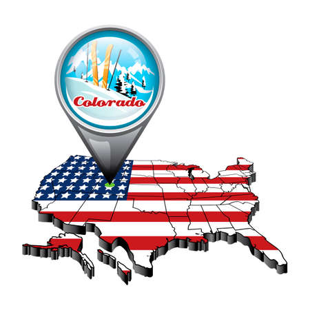 colorado: US map with pin showing colorado state