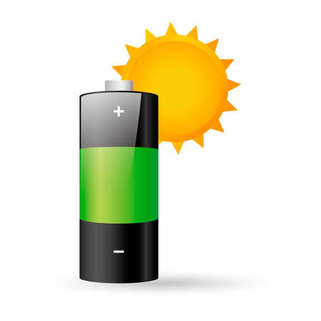 positive energy: Sun and battery Illustration
