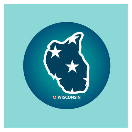 state wisconsin: Map of wisconsin state Illustration