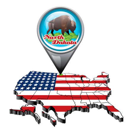 north dakota: US map with pin showing north dakota state
