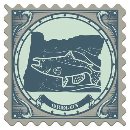chinook: Oregon state postage stamp Illustration