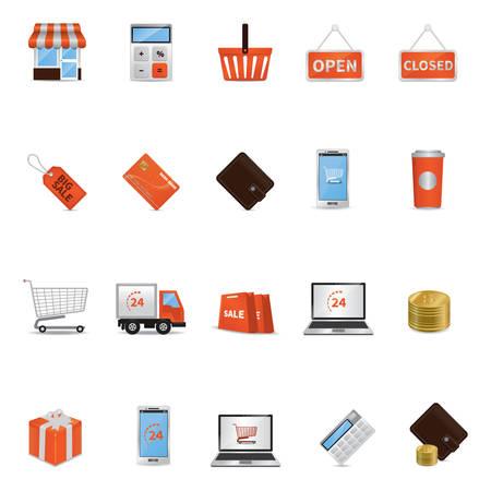 go to store: Set of shopping icons Illustration