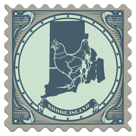island state: Rhode island state postage stamp