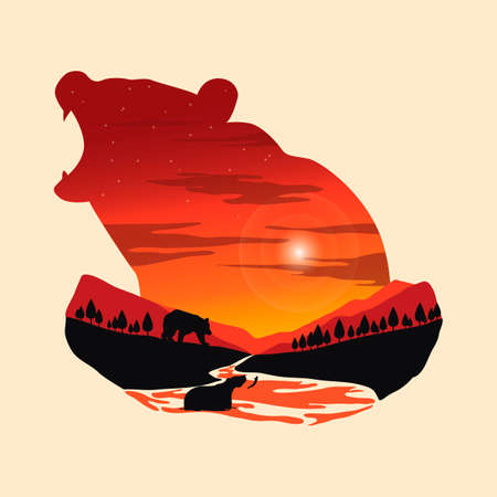 exposure: Double exposure bear and forest