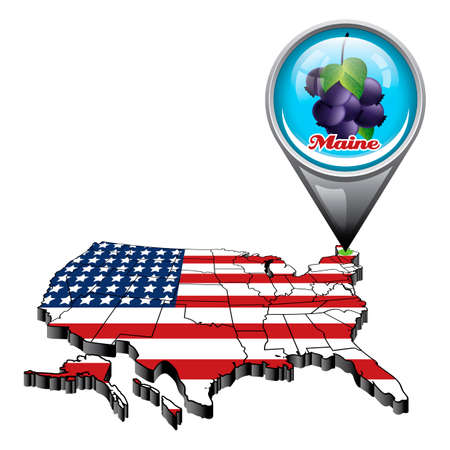 maine: US map with pin showing maine state