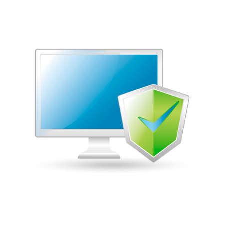 an antivirus: Computer and antivirus protection Illustration