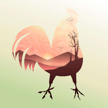 Double exposure rooster and sunrise