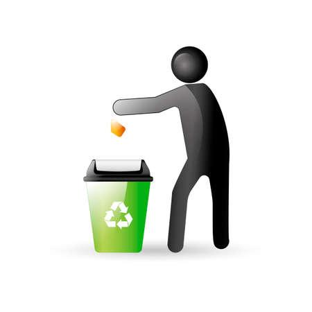 limpieza: Hombre arrojar desechos en el cubo de basura