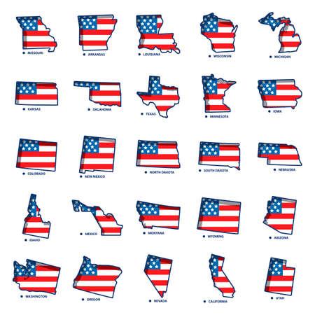 colorado flag: Set of USA state maps