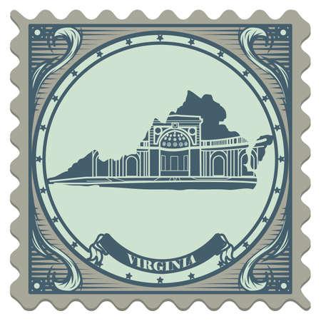 postage: Virginia state postage stamp