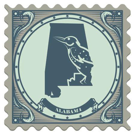 alabama: Alabama state postage stamp