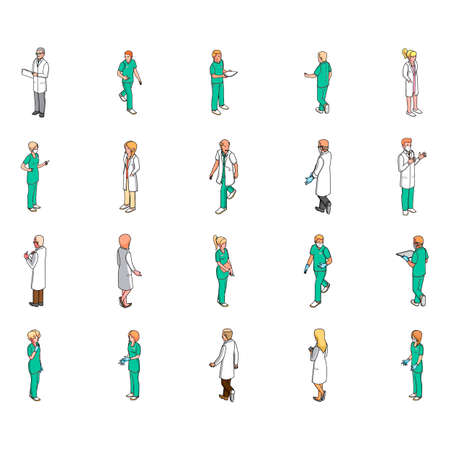medical professional: Isometric medical professional people
