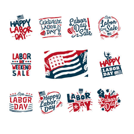 labor day: US labor day labels Illustration