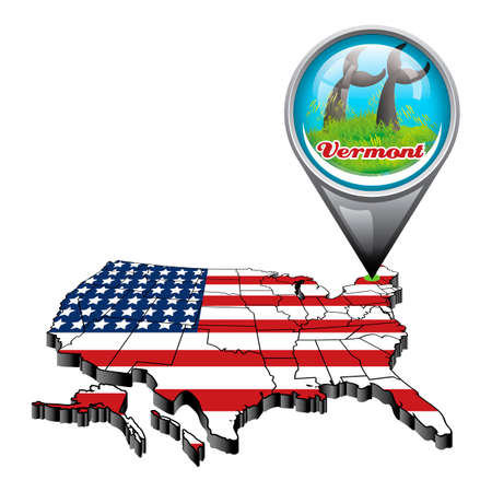 US Map With Pin Showing Vermont State Royalty Free Cliparts, Vectors ...