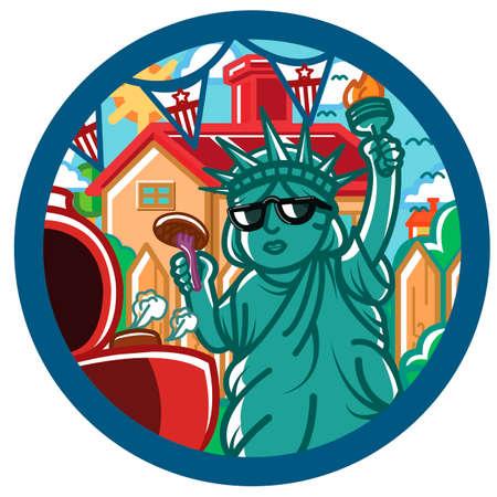 liberty: Statue of liberty grilling sausage