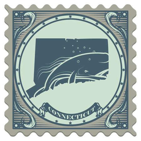 postage: Connecticut state postage stamp Illustration