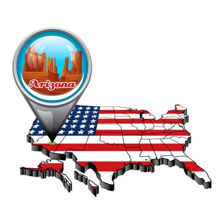 state of arizona: US map with pin showing arizona state Illustration