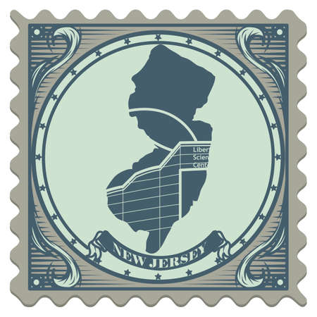 new jersey: New jersey state postage stamp Illustration