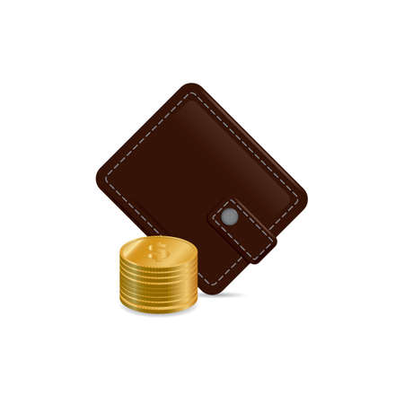 billfold: Wallet with coins Illustration