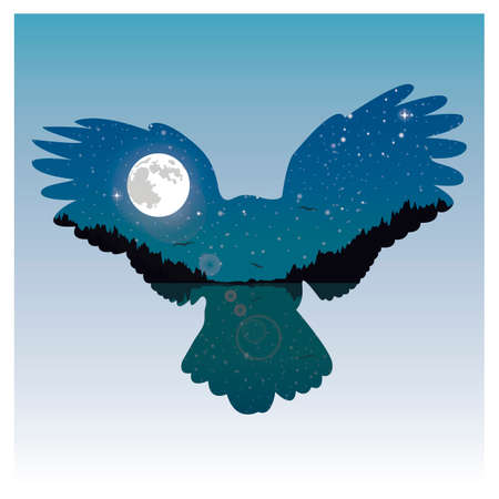 exposure: Double exposure bird and night sky Illustration
