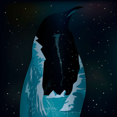 double exposure: Double exposure penguin and iceberg Illustration