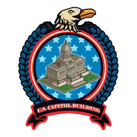 senate: Us capitol building label