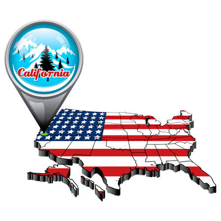 pacific crest trail: US map with pin showing california state Illustration