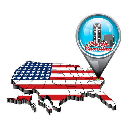 north carolina: US map with pin showing north carolina state