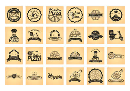 label: Collection of italian pizza label Illustration