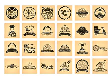 pizza chef: Collection of italian pizza label Illustration