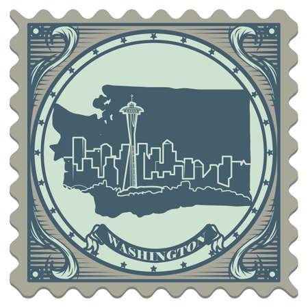 space needle: Washington state postage stamp Illustration