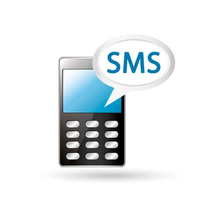 short message service: Mobile phone with sms speech bubble