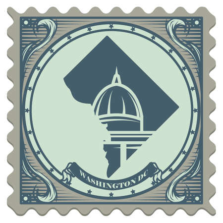 dc: Washington dc postage stamp Illustration