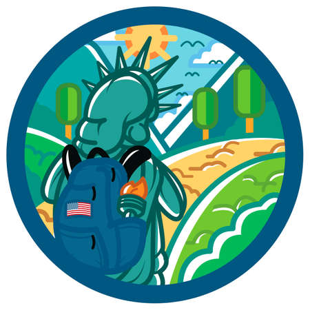hiking trail: Statue of liberty with backpack