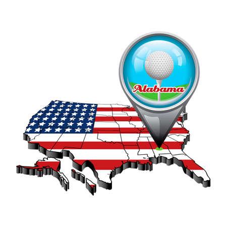Alabama: US map with pin showing alabama state Illustration