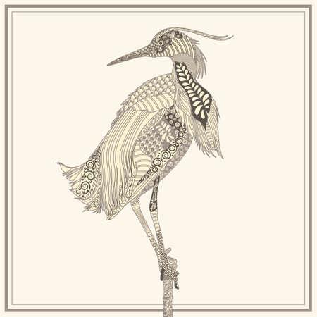 oviparous: Zentangle bird Illustration
