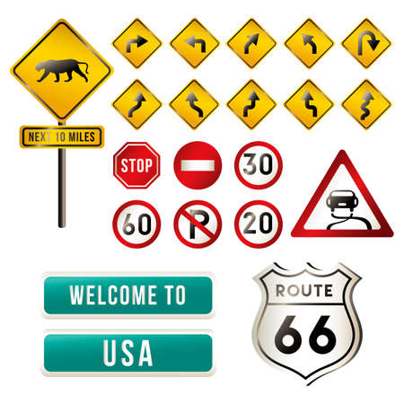 u turn: Set of USA road signs