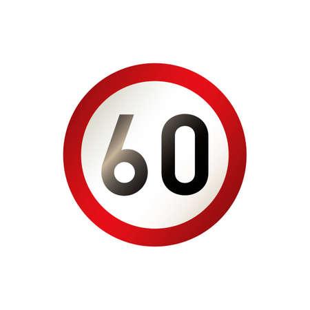 60 road sign Ilustração