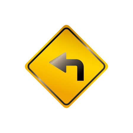 turn on: Left turn road sign Illustration