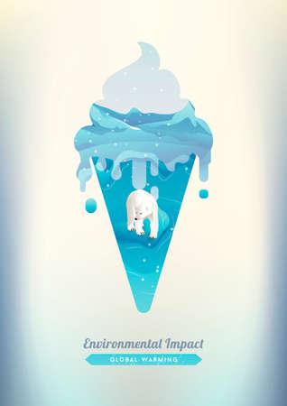 combining: Double exposure of ice cream and polar bear