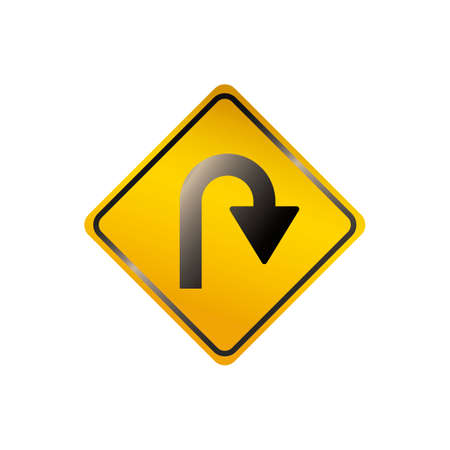 u turn sign: Right u turn road sign