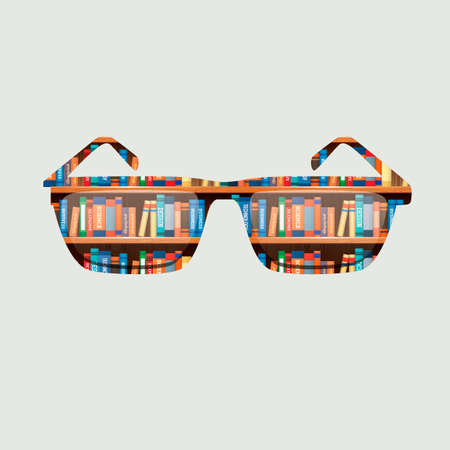eyewear fashion: Double exposure of a sunglasses and library