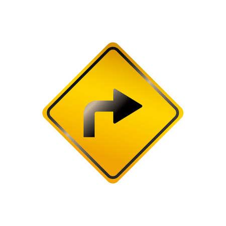 Rechtsaf verkeersbord Stock Illustratie