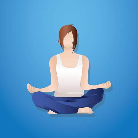 sukhasana: Woman doing yoga